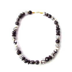 Collier Kazuri - Mini Shangani Black and White