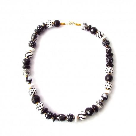 Collier Kazuri - Mini Shangani Black and White
