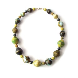 Kazuri Necklace - DreamCoat Summer Green