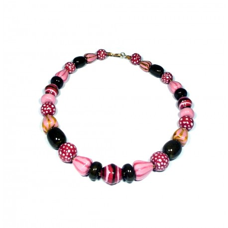 Retiro Joy Rose Mix Kazuri Necklace