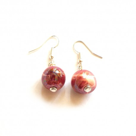 Petit Tango MOP Patten Raspberry Earrings