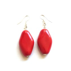 Boucles d'Oreilles Spring Leaves Bright Red